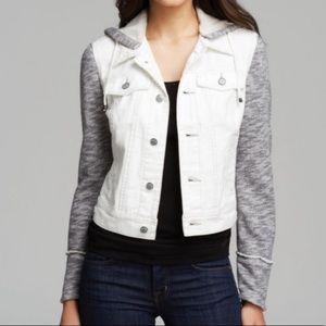 Free People Distressed Mix Material Denim Jacket